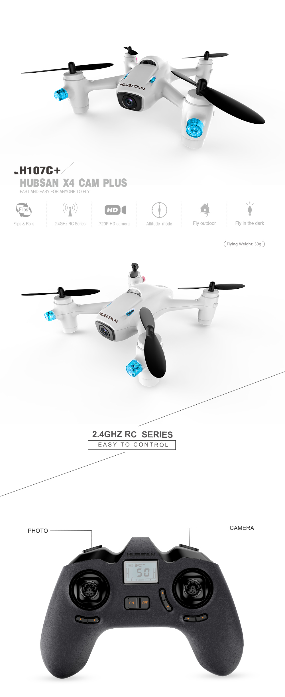HUBSON H107C DRONE X4 CAMP PLUS