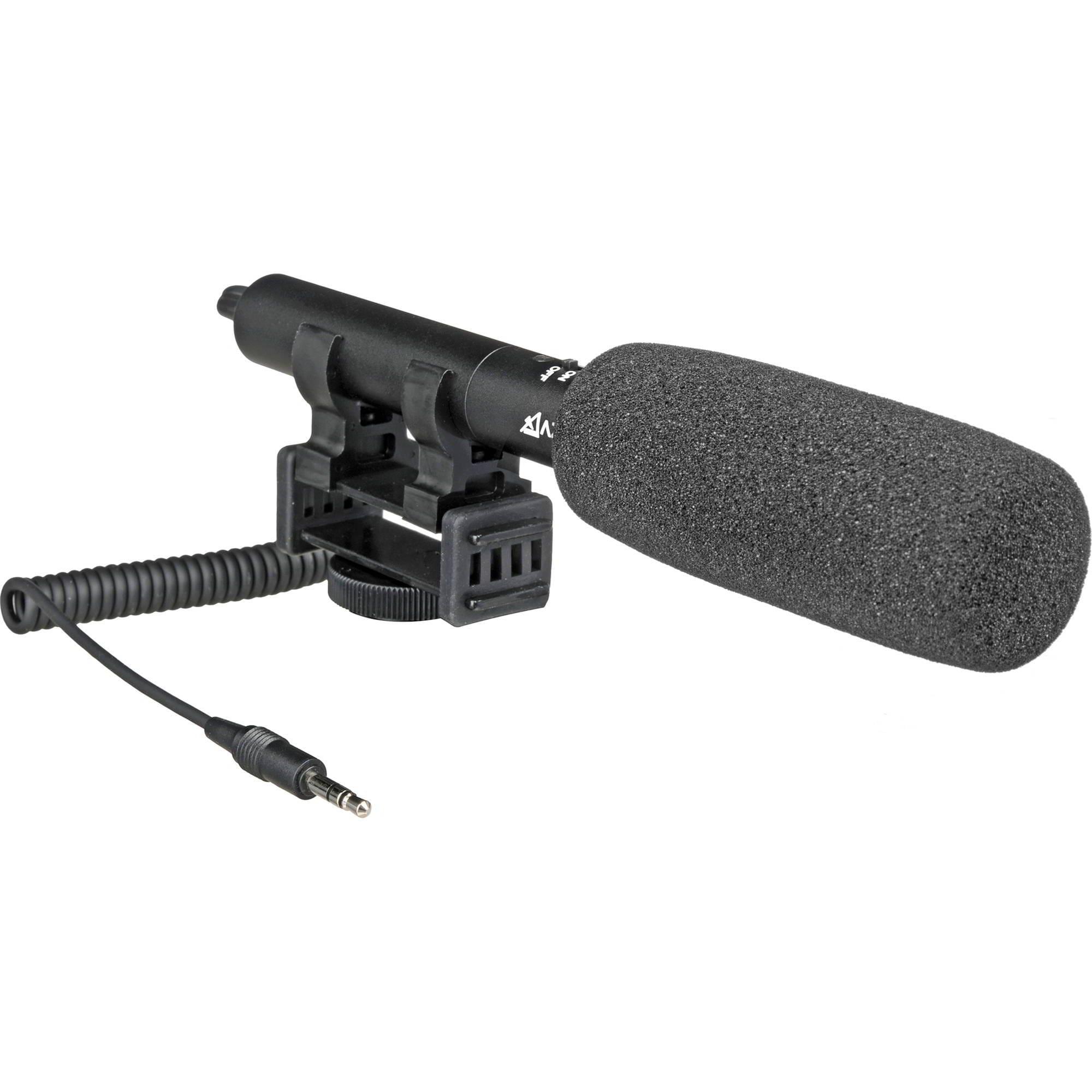 AZDEN SMX-10 Microfono direzionale stereo, spinotto Jack tipo TRS da 3,5mm. Supporto anti-shock integrato. Fornito con spugnetta antivento.