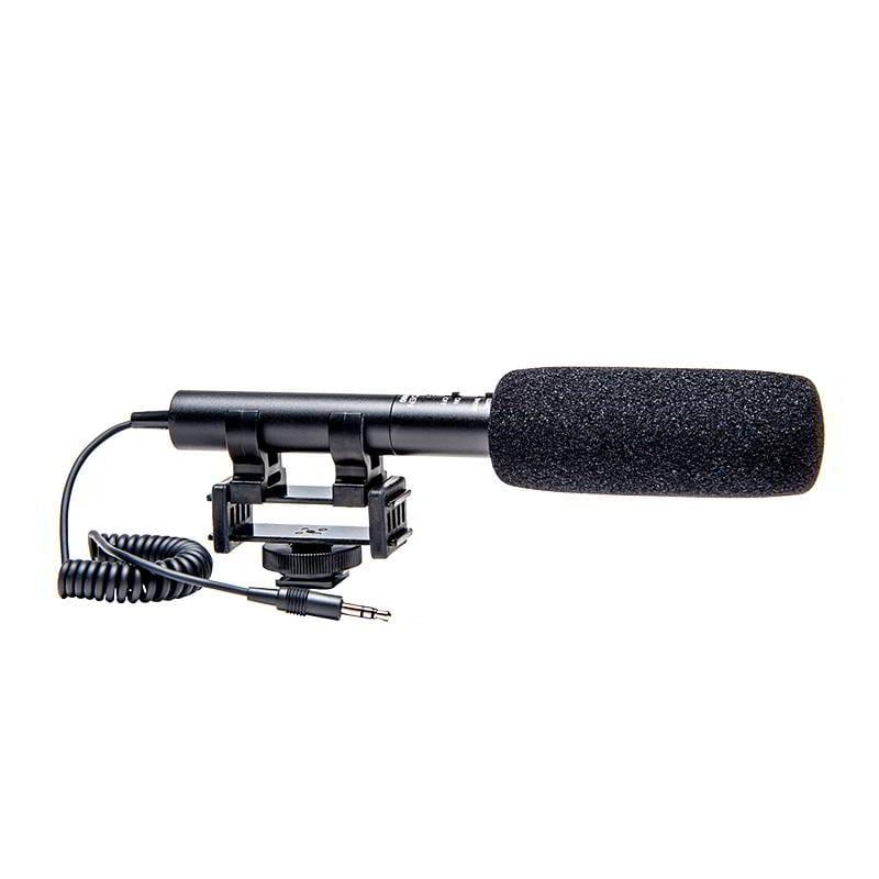 AZDEN SGM-990+i Microfono a fucile con due posizioni (supercardioide/omni), spinotto Jack tipo TRS da 3,5mm. Fornito con supporto anti-shock e spugnetta antivento. con cavo adattatore TRS-TRRS. Compatibile con smartphones e tablet