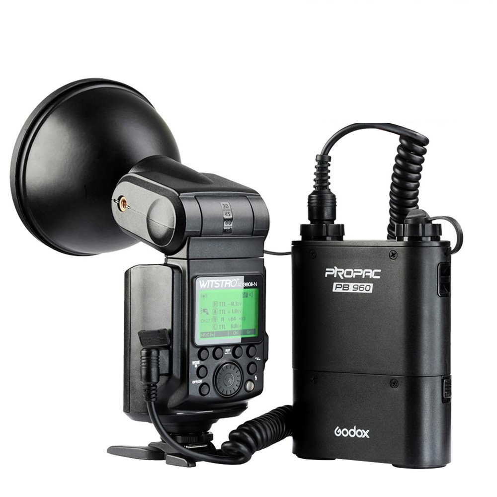 GODOX WITSTRO FLASH 360 W+ALIMENTATORE PB-960 TTL NIKON
