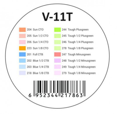 V-11T Kit Gelatine Colorate 11T per Flash TTL V1