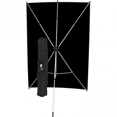 X-Drop backdrop kit - fondale in tessuto NERO ANTIPIEGA 1,50 x 2m completo di supporto