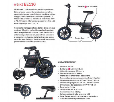 SWISS-GO E-BIKE MOD.BE110 VEICOLO ELETTRICO