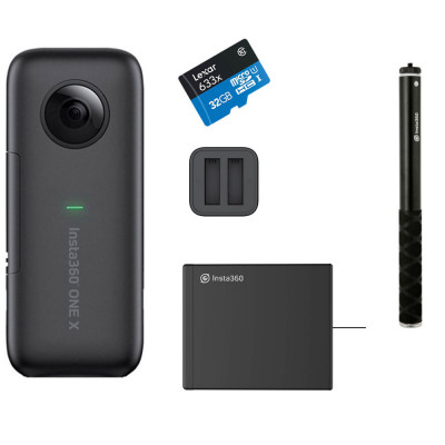 ONE X Battery KIT ( Selfie stick + extra battery + Charging station ) + MicroSD Lexar 633X 32GB