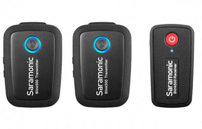 BLINK 500 KIT B2 MICROFONO WIRELESS RICEVITORE + 2 TRASMETTITORI PER FOTOCAMERE e Smartphone