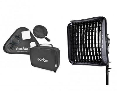 GODOX S2 SPEEDLITE BRACKET KIT CON SOFTBOX 80CM CON GRIGLIA E BORSA (ATTACCO BOWENS)/V1